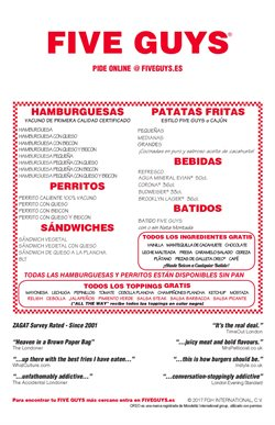 Ofertas de Restauración  en el folleto de Five Guys en Madrid