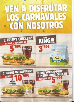Ofertas de Restauración en el catálogo de Burger King en Puerto de la Cruz ( 3 días publicado )