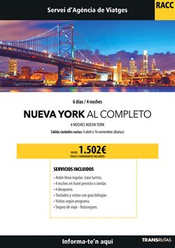 Ofertas de Viajes a Nueva York  en el folleto de Racc Travel en L'Hospitalet de Llobregat
