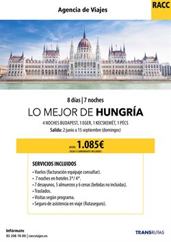 Ofertas de Viajes a Hungría  en el folleto de Racc Travel en Barcelona