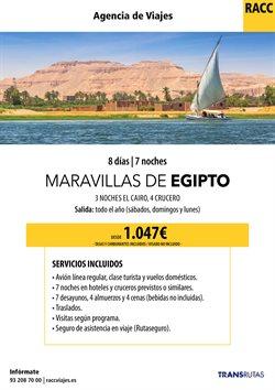 Ofertas de Viajes a Egipto  en el folleto de Racc Travel en Barcelona