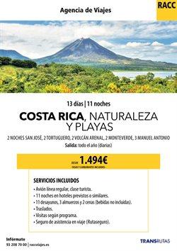 Ofertas de Viajes a Costa Rica  en el folleto de Racc Travel en L'Hospitalet de Llobregat