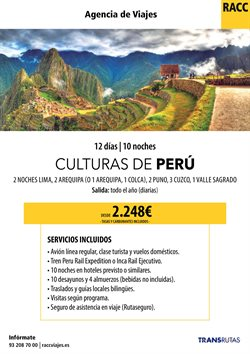Ofertas de Viajes a Perú  en el folleto de Racc Travel en Sant Boi
