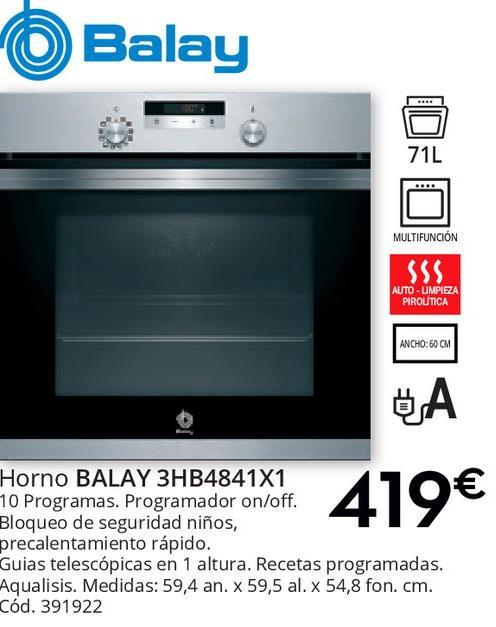 Comprar hornos en palma ofertas y descuentos for Oferta encimera y horno