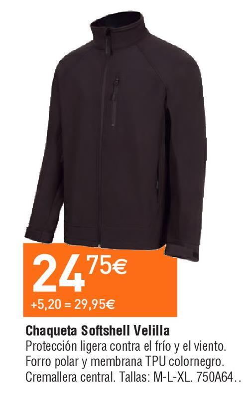 Oferta de Chaqueta softshell hombre velilla por 24.75€