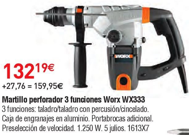 Oferta de Martillo perforador worx por 132.19€