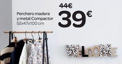 Oferta de Perchero madera y metal Compactor por 39€