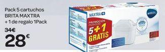 Oferta de Pack 5 cartuchos BRITA MAXTRA + 1 de regalo 1 pack por 28€