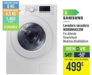 Oferta de Lavadora secadora WD80M4A53IW Samsung por 549€