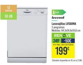 Oferta de Lavavajillas LVS90WA icecool por 249€