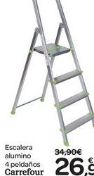 Oferta de Escalera aluminio 4 peldaños Carrefour  por 26.9€