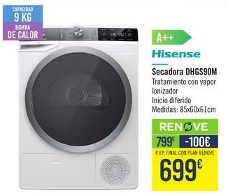 Oferta de Secadora DHGS90M Hisense  por 799€