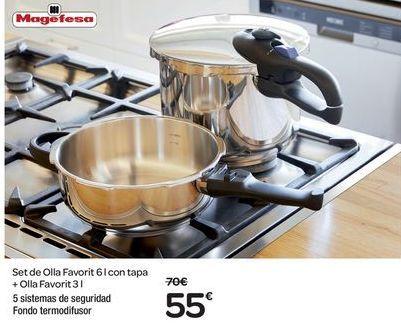 Oferta de Set de Olla Favorit 6l con tapa + olla Favorit 3 l por 55€