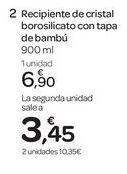 Oferta de Recipiente de cristal borosilicato con tapa de bambú  por 6.9€