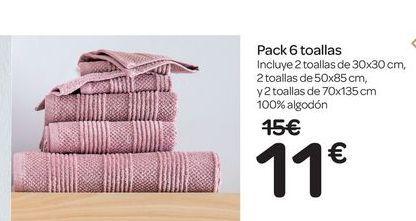 Oferta de Pack 6 toallas  por 11€