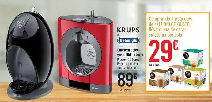 Oferta de Cafetera dolce gusto Oblo o Jovia por 89€