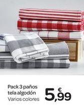 Oferta de Pack 3 paños tela algodón  por 5.99€