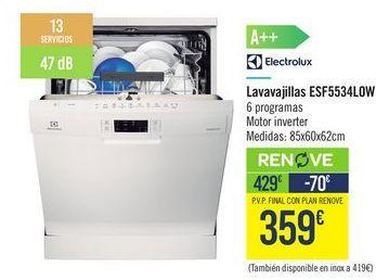 Oferta de Lavavajillas ESF5534L0W Electrolux por 429€