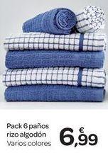 Oferta de Pack 6 paños rizo algodón  por 6.99€