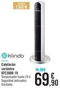 Oferta de Calefactor cerámico KTC200R-19 Klindo por 69.9€