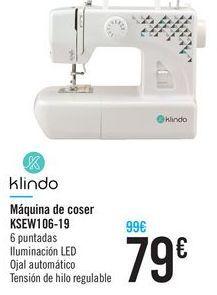 Oferta de Máquina de coser KSEW106-19 Klindo por 79€