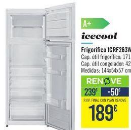 Oferta de Frigorífico ICRF263W Icecool  por 239€