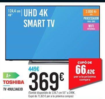 Oferta de TV 49UL3A63D Toshiba por 369鈧�