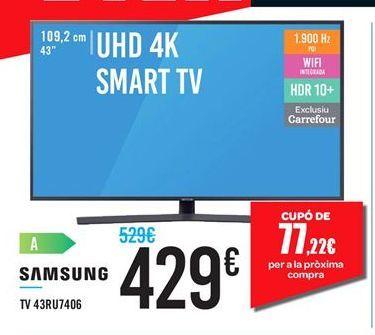 Oferta de TV 43RU7406 Samsung por 429鈧�