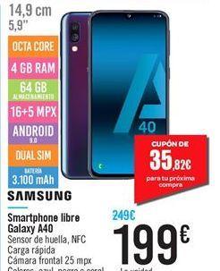 Oferta de Smartphone libre Galaxy A40 Samsung por 199鈧�