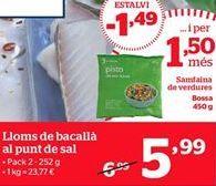 Oferta de Lomos de bacalao al punto de sal por 5.99€