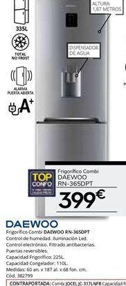 Oferta de Frigorífico combi no frost Daewoo por 399€