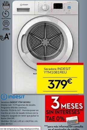 Oferta de Secadoras Indesit por 379€