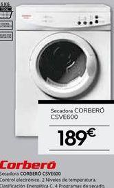 Oferta de Secadora de evacuación Corberó por 189€