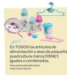 Oferta de En TODOS los artículos de alimentación y aseo de pequeña puericultura marca DISNEY por