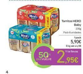 Oferta de Tarritos HERO Baby por 5.9€