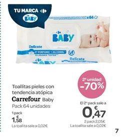 Oferta de Toallitas pieles con tendencia atópica  carrefour baby por 1.58€
