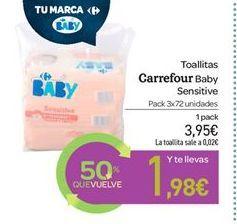Oferta de Toallitas Carrefour baby Sensitive por 3.95€