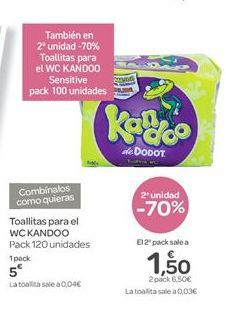 Oferta de Toallitas para el WC KANDOO por 5€