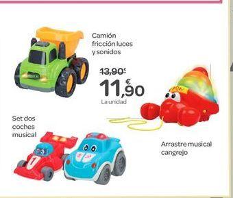 Oferta de Camión fricción luces y sonidos, Set dos coches musical o Arrastre musical cangrejo por 11.9€