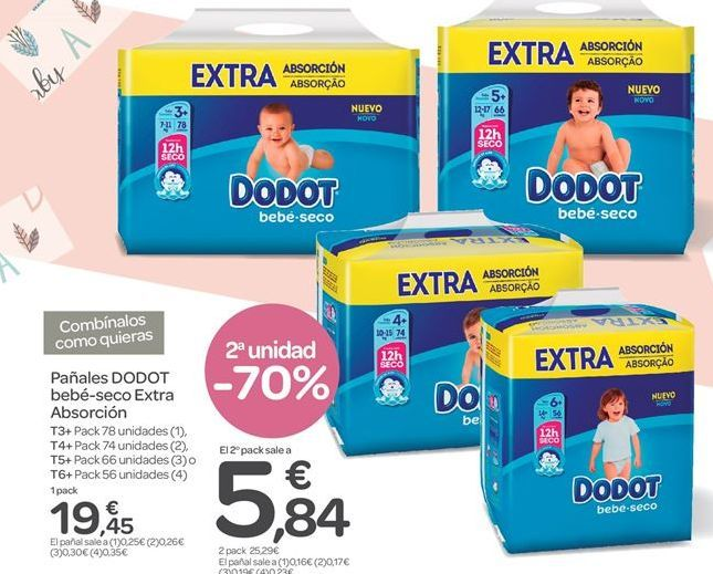 Oferta de Pañales Dodot, bebé-seco Extra Absorción por 19.45€