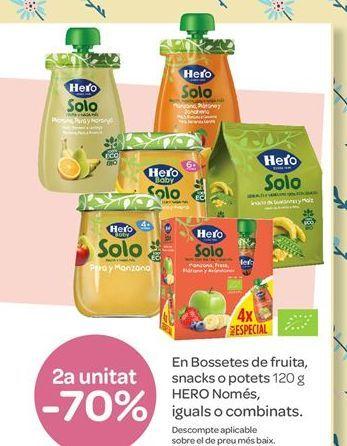 Oferta de En Bolsitas de fruta, snacks o tarritos 120 g HERO Solo por