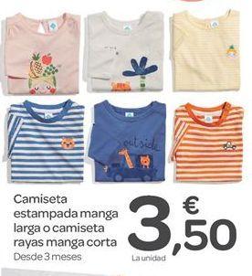 Oferta de Camiseta estampada manga larga o camiseta rayas manga corta  por 3.5€