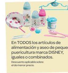 Oferta de En TODOS los artículos de alimentación y aseo de pequeña puericultura marca DISNEY, iguales o combinados por