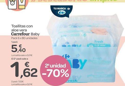 Oferta de Toallitas con aloe vera Carrefour Baby por 5.4€