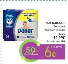 Oferta de Toallitas Dodot Sensitive por 11.99€