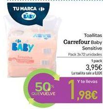 Oferta de Toallitas carrefour baby por 3.95€