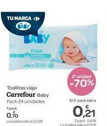 Oferta de  Toallitas viaje Carrefour Baby por 0.7€
