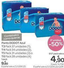 Oferta de Pañales DODOT Azul por 9.8€