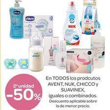 Oferta de En TODOS los productos AVENT, NUK, CHICCO y SUAVINEX, iguales o combinados por