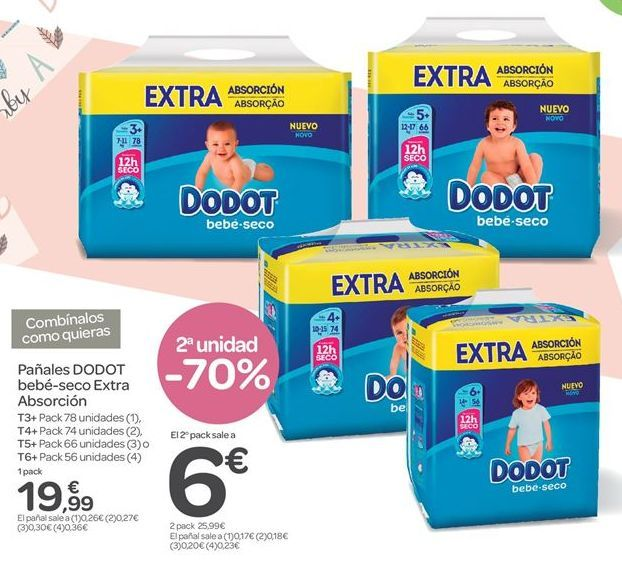 Oferta de Pañales DODOT bebé-seco Extra Absorción  por 12.99€